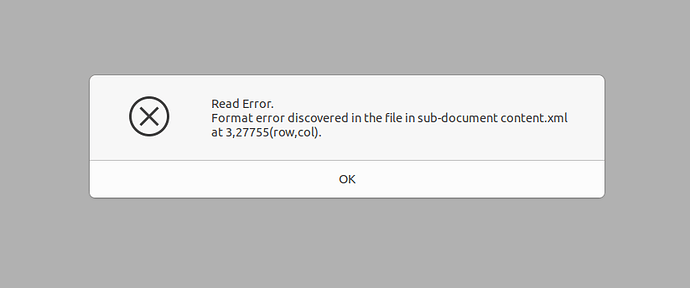 Error message when trying to open downloaded ODT version
